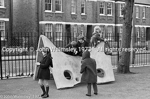 Playing on a new concrete structure, Darell Road Primary School, London.  1973