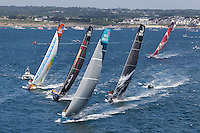 FRANCE, Lorient. 1st July 2012. Volvo Ocean Race, Start Leg 9 Lorient-Galway. l-r Groupama Sailing Team, Abu Dhabi Ocean Racing, Team Telefonica, PUMA Ocean Racing powered by BERG, and Camper with Emirates Team New Zealand.