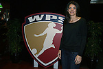 29 March 2009: Mia Hamm poses with the WPS logo which features her likeness. Los Angeles Sol defeated the Washington Freedom 2-0 at the Home Depot Center in Carson, California in a regular season Women's Professional Soccer game. The game was the WPS Inaugural game.