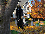 Decorated for Halloween House in Toronto, Ontario, Canada.