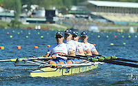 Hamilton, NEW ZEALAND.  GBR W4X, Bow. Debbie FLOOD, Beth RODFORD, Frances HOUGHTON and Annie VERNON in the start area. 2010 World Rowing Championship on Lake Karapiro Sunday  31/10/2010. [Mandatory Credit Peter Spurrier:Intersport Images].