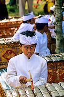 Children's gamelan orchestra at school cultural performance; Peliatan; Bali, Indonesia