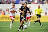 Alejandro Moreno (15) of the Philadelphia Union. The New York Red Bulls defeated the Philadelphia Union 2-1 during a Major League Soccer (MLS) match at Red Bull Arena in Harrison, NJ, on April 24, 2010.