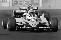 LAS VEGAS, NV - OCTOBER 17: Alain Prost drives the Renault RE30 4/Renault Gordini en route to second place in the Caesar's Palace Grand Prix FIA Formula One World Championship race on the temporary circuit in Las Vegas, Nevada, on October 17, 1981.