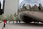 """Cloud Gate,"" also known as ""The Bean"" by artist  Anish Kapoor at Millennium Park, Chicago, IL, USA"