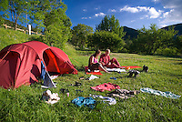 Barrea, Abruzzo, Italy, June 2008. Hikers camp and cook at the Camping. Pasetta, owner of camping La Genziana, is the grandson of the last wolf hunter of the Abruzzo mountains. Nowadays the wolfs are protected by the national parks. Photo by Frits Meyst/Adventure4ever.com