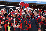 19 February 2017: Ohio State's Alex Bayne (2) celebrates her second home run of the game with her teammates at home plate. The Ohio State University Buckeyes played the University of Louisville Cardinals at Anderson Family Softball Stadium in Chapel Hill, North Carolina as part of the ACC/Big 10 College Softball Challenge. OSU won the game 4-3.