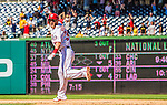 25 July 2013: Washington Nationals outfielder Bryce Harper rounds the bases after hitting his first career walk-off home run in the bottom of the 9th inning to break a 7-7 tie and defeat the Pittsburgh Pirates 9-7 at Nationals Park in Washington, DC. The Nationals salvaged the last game of their series to end their 6-game losing streak. Mandatory Credit: Ed Wolfstein Photo *** RAW (NEF) Image File Available ***