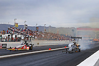 Feb 26, 2017; Chandler, AZ, USA; NHRA top fuel driver Shawn Reed (right) defeats Doug Kalitta during the Arizona Nationals at Wild Horse Pass Motorsports Park. Mandatory Credit: Mark J. Rebilas-USA TODAY Sports