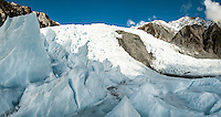 Ice formations and main icefall on Franz Josef Glacier, Westland Tai Poutini National Park, UNESCO World Heritage Area, West Coast, New Zealand, NZ