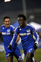 Kei Kamara (25) celebrtaes his opening goal with Davy Arnaud...Kansas City Wizards defeated DC United 4-0 in their season opener, at Community America Ballpark in Kansas City, Kansas.