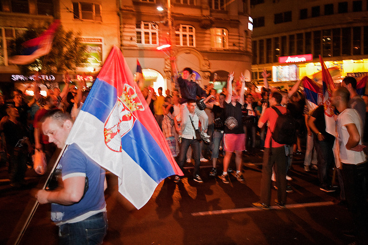 A rowdy crowd gathers outside of the Democratic Party (DS) offices in central Belgrade after Tomislav Nikolic was declared the winner of the Serbian Presidential Election. The crowd was shouting anti-Tadic chants, and was comprised of mostly intoxicated young men...May 20, 2012 Election Night coverage from Belgrade city center