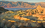 Zabriskie Point in Death Valley displays fine geologic erosion exemplary of the Basin and Range desert.