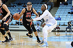 16 December 2014: Oregon State's Sydney Wiese (24) and North Carolina's Stephanie Mavunga (right). The University of North Carolina Tar Heels hosted the Oregon State University Beavers at Carmichael Arena in Chapel Hill, North Carolina in a 2014-15 NCAA Division I Women's Basketball game. Oregon State won the game 70-55.