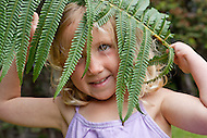 Girl and ferns in Hawaii