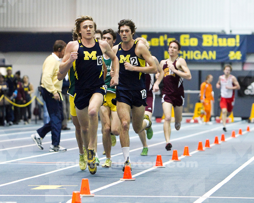The University of Michigan men's track and field team placed first of four at the Simmons-Harvey Invitational at the UM Indoor Track and Field Building in Ann Arbor, Mich., on January 21, 2012.