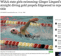 Edgewood's Kelly Rodriguez places first in the 200 yard freestyle with a time of 1:49.41 during the WIAA Division 2 girls state swimming championship on Friday at the UW Natatorium in Madison | Wisconsin State Journal article front page Sports 11/12/16 and on-line at http://host.madison.com/wsj/sports/high-school/swimming/wiaa-state-girls-swimming-ginger-lingard-s-fourth-straight-diving/article_80366312-bdd3-5c3f-a5c8-9a49f4ecbb74.html