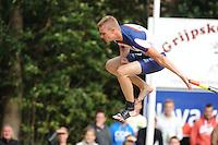 FIERLJEPPEN: GRIJPSKERK: Fierljepaccomodatie 'De Enk', 16-08-2014, ROC Friese Poort competitie 2014, Nard Brandsma, ©foto Martin de Jong