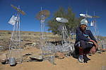Souvenir seller with wire windmills, Cradock, Eastern Cape, South Africa