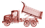 X-ray image of a dump truck (red on white) by Jim Wehtje, specialist in x-ray art and design images.