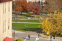 Aerial view of students on Central Campus, Fall UVM Campus