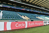 A general view of a Circle billboard alongside the pitch. The Clash, Aviva Premiership match, between Bath Rugby and Leicester Tigers on April 8, 2017 at Twickenham Stadium in London, England. Photo by: Patrick Khachfe / Onside Images