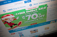 Toysrus website featuring their Cyber Monday sales on Monday, November 26, 2012. Cyber Monday is expected to be the busiest online shopping day of the year. (© Richard B. Levine)