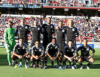 San Jose Earthquakes Starting XI pose together for group photo before the game against Galaxy at Stanford Stadium in Palo Alto, California on June 30th, 2012.  San Jose Earthquakes defeated LA Galaxy, 4-3.