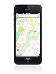 iPhone 5 with Apple map app, new Apple mapping service on its display isolated on white background with clipping path