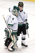 Tim Kennedy (Michigan State - Buffalo, NY) leaves the ice with Jeff Lerg (Michigan State - Livonia, MI) at the end of the first period. The Michigan State Spartans defeated the University of Maine Black Bears 4-2 in their 2007 Frozen Four semi-final on Thursday, April 5, 2007, at the Scottrade Center in St. Louis, Missouri.