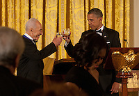 United States President Barack Obama offers a toast to President Shimon Peres of Israel following his being awarded the Presidential Medal of Freedom during a dinner in his honor in the East Room of the White House in Washington, D.C. on Wednesday, June 13, 2012..Credit: Martin Simon / Pool via CNP /MediaPunch