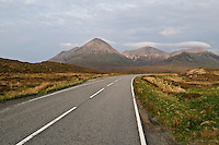 Red cuilling mountains and highway A863, Isle of Skye, Scotland