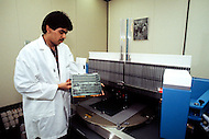 Silicon Valley, California - February 1983. A machine to manufacture microchips (miniature integrated circuits). Silicon Valley is the largest high-tech manufacturing center in the United States, and is the region most famous for innovations in software and Internet services.