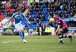 St Johnstone v Dundee&hellip;11.03.17     SPFL    McDiarmid Park<br />Danny Swanson chips his shot over the bar<br />Picture by Graeme Hart.<br />Copyright Perthshire Picture Agency<br />Tel: 01738 623350  Mobile: 07990 594431