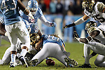 17 October 2015: UNC's Jeff Schoettmer (10) jumps on a Wake Forest fumble. The University of North Carolina Tar Heels hosted the Wake Foresst University Demon Deacons at Kenan Memorial Stadium in Chapel Hill, North Carolina in a 2015 NCAA Division I College Football game. UNC won the game 50-14.