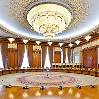 Human Rights Hall. The Palace of the Parliament (Also known as Ceausescu&rsquo;s Palace or House of The People) in Bucharest, Romania. Built 1983-1989. Architect: Anca Petrescu