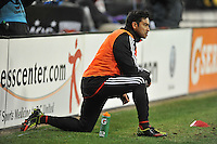 Carlos Ruiz of D.C. United warming up before entering the game. D.C. United defeated Real Salt Lake 1-0 in their home opener, at RFK Stadium, Saturday March 9,2013.
