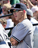 New York Yankees manager Joe Girardi (28) watches eighth inning action against the Baltimore Orioles at Oriole Park at Camden Yards in Baltimore, Maryland in the first game of a doubleheader on Sunday, August 28, 2011.  The Orioles won the game 2 - 0..Credit: Ron Sachs / CNP.(RESTRICTION: NO New York or New Jersey Newspapers or newspapers within a 75 mile radius of New York City)