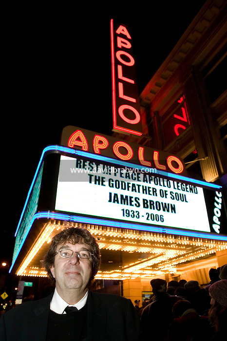 "28 December 2006 - New York City, NY - Frank Copsidas, manager of the late James Brown, poss in front of the Apollo Theater in New York City, USA, where the singer body is lying in repose. Brown, known as the ""Godfather of Soul"" died on Christmas Day."