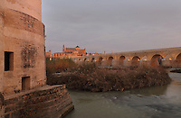 The Molino de San Antonio (left), a medieval water mill on the Guadalquivir river, Cordoba, Andalusia, Southern Spain. Behind is the Roman bridge, built 1st century BC, and the Cathedral-Great Mosque of Cordoba. The first church built here by the Visigoths in the 7th century was split in half by the Moors, becoming half church, half mosque. In 784, the Great Mosque of Cordoba was built in its place, but in 1236 it was converted into a catholic church, with a Renaissance cathedral nave built in the 16th century. The historic centre of Cordoba is listed as a UNESCO World Heritage Site. Picture by Manuel Cohen