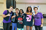 Garden City, New York, USA. 15th August 2013.  CRUISE RUSSO, DREW KATSOCK, and JOHN RUSSO of Reverse Order, the Grammy nominated pop rock band, pose with fans, at center GENESIS VELEZ, 16, and TAARA JOHNSON, 17, both of Central Islip, at Back-to-School event, BACK AT IT, at Roosevelt Field shopping mall, one of the 10 largest shopping malls in the United States of America.