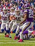 19 October 2014: Buffalo Bills wide receiver Chris Hogan (15) runs for 10 years receiver in the first quarter against the Minnesota Vikings at Ralph Wilson Stadium in Orchard Park, NY. The Bills defeated the Vikings 17-16 in a dramatic, last minute, comeback touchdown drive. Mandatory Credit: Ed Wolfstein Photo *** RAW (NEF) Image File Available ***