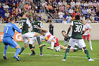 Joel Lindpere (20) of the New York Red Bulls misses on a scoring opportunity. The New York Red Bulls defeated the Portland Timbers 2-0 during a Major League Soccer (MLS) match at Red Bull Arena in Harrison, NJ, on September 24, 2011.