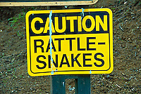 Caution Rattlesnakes Sign, Los Angeles, CA, Runyon Canyon