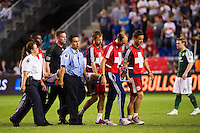 Kosuke Kimura (15) of the Portland Timbers is taken off on a back board after being injured on a play. The New York Red Bulls  defeated the Portland Timbers 3-2 during a Major League Soccer (MLS) match at Red Bull Arena in Harrison, NJ, on August 19, 2012.