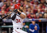 13 October 2016: Washington Nationals outfielder Bryce Harper in action during the NLDS Game 5 against the Los Angeles Dodgers at Nationals Park in Washington, DC. The Dodgers edged out the Nationals 4-3, to take Game 5 of the Series, 3 games to 2, and move on to the National League Championship Series against the Chicago Cubs. Mandatory Credit: Ed Wolfstein Photo *** RAW (NEF) Image File Available ***