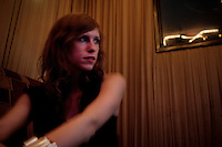 Los Angeles-based singer-songwriter Cameron Mesirow at a karaoke bar in the Koreatown section  of Los Angeles, California, June 16, 2009. Mesirow created the musical project Glasser and has just released her first demo available only on vinal  or through iTunes.