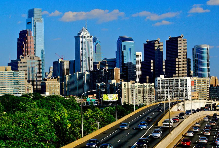 Philadelphia Skyline, West, car light streaks, Comcast Center (l), BNY Mellon Center, Bell Atlantic Tower