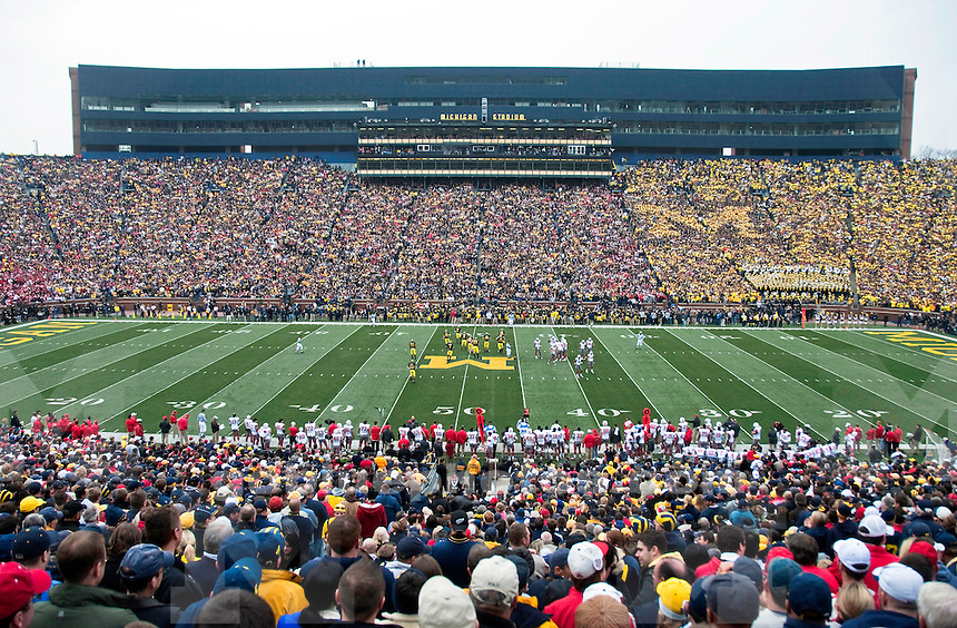 21 November 2009: University of Michigan students form a Block M in the stands as Michigan take on Ohio State at Michigan Stadium, Ann Arbor, MI. Following the conclusion of the game, the pressbox will be demolished to accommodate the new construction.