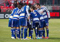 06 April 2013: The FC Dallas team huddle before the start of the second half during an MLS game between FC Dallas and Toronto FC at BMO Field in Toronto, Ontario Canada..The game ended in a 2-2 draw..